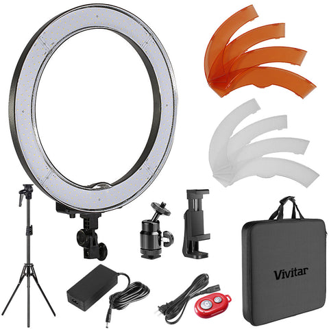 Vivitar 18-inch Outer Dimmable SMD LED Ring Light Lighting Kit with Color Filters