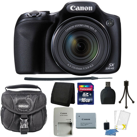 Canon PowerShot SX530 HS 16MP Wi-Fi  Digital Camera + 16GB Accessory Bundle