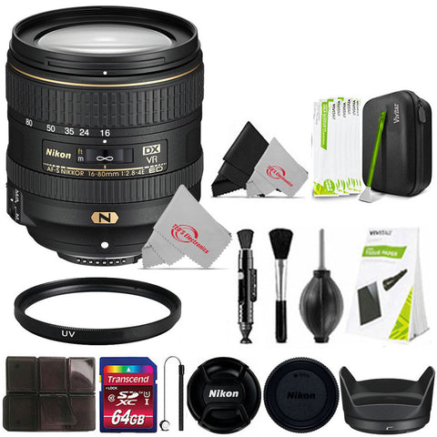 Nikon AF-S DX NIKKOR 16-80mm f/2.8-4E ED VR Lens for Nikon DSLR Cameras  + Essential Accessory Kit