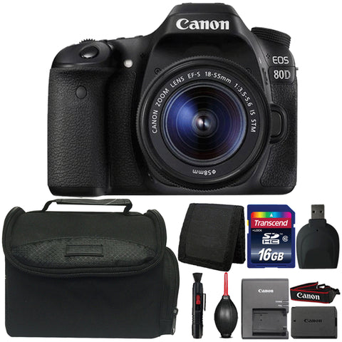Canon EOS 80D DSLR Camera with 18-55mm IS STM Lens and Accessories