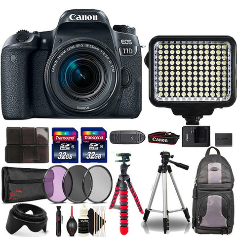 Canon EOS 77D 24.2MP DSLR Camera with 18-55mm IS STM Lens , 120 LED Video Light and Accessory Bundle