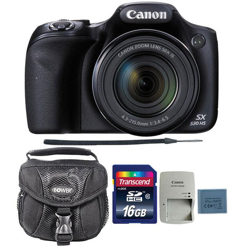 Canon PowerShot SX530 HS 16MP Digital Camera with 16GB Memory Card and Camera Case