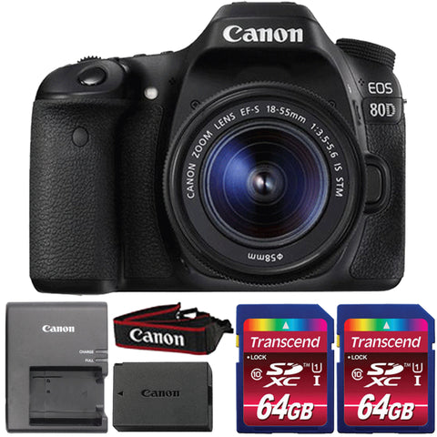 Canon EOS 80D DSLR Camera with 18-55mm IS STM Lens and Two 64GB Memory Cards