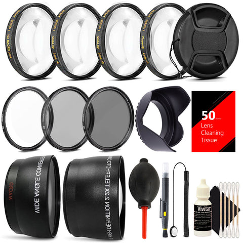 58mm Lens Filter Accessory Kit for Canon EOS Rebel T6i, T6, T5i, T4i,T3i and SL1