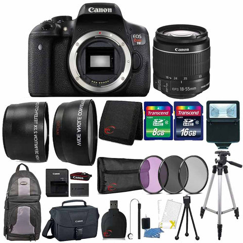 Canon EOS Rebel T6 18MP DSLR Camera with 18-55mm Lens , Canon Camera Case and 24GB Ultimate Accessory Bundle