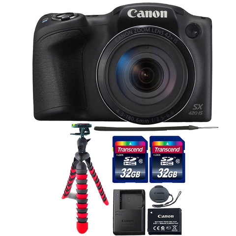 Canon PowerShot SX420 IS Digital Camera Black with Accessory Kit