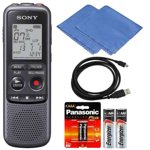 Sony 4GB PX Series MP3 Digital Voice IC Recorder With Built-In Stereo Microphone + Extra Batteries