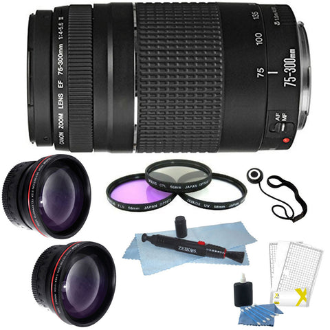 Canon Zoom Telephoto EF 75-300mm f/4.0-5.6 III Lens + 58mm Deluxe Accessory Kit