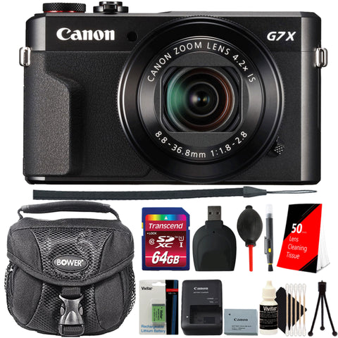 Canon PowerShot G7 X Mark II Point and Shoot Digital Camera with 64GB Memory Card, Extra Battery and More Essential Accessories