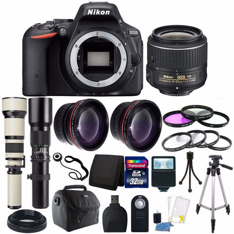 Nikon D5500 Digital SLR Camera with 18-55mm Lens, 650-1300mm Lens, 500mm Lens and Accessory Kit