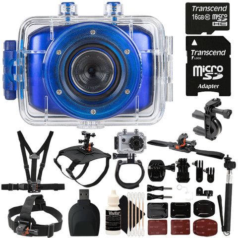 Vivitar DVR783HD Waterproof Action Video Camcorder Blue with Top Value Kit