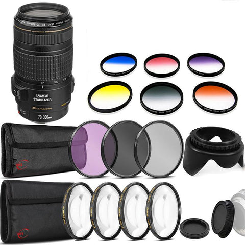 Canon EF 70-300mm f/4-5.6 IS USM Lens with Accessories for Canon 77D and 80D