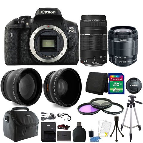 Canon EOS Rebel 750D / T6i 24.2MP Digital SLR Camera with EF-S 18-55mm IS STM Lens , EF 75-300mm III Lens and Accessory Kit