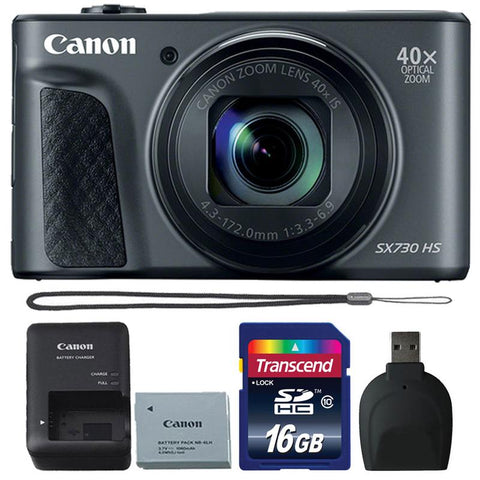 Canon Powershot SX730 HS 20.3MP Digital Camera (Black) with 16GB Accessory Kit