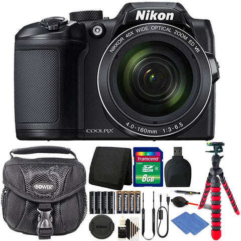 Nikon Coolpix B500 16MP Digital Camera Black + Extra Batteries + Accessories