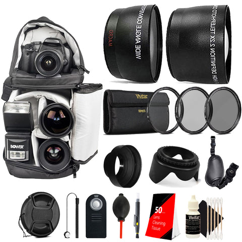 58mm Complete Accessory Kit for CANON EOS Rebel T2 T3i T4 T5 T5i T5 EOS (750D 760D 650D 600D 550D 500D 450D 400D 350D 300D 7D 60D)