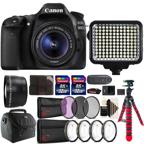 Canon EOS 80D 24.2MP DSLR Camera with 18-55mm IS STM Lens , 120 LED Light and Accessory Kit