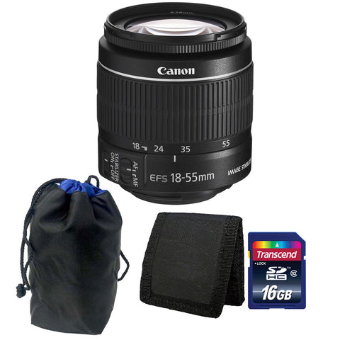 Canon EF-S 18-55mm f/3.5-5.6 IS II Lens+ Pouch + 16GB Card + Wallet
