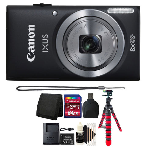 Canon IXUS 185 / ELPH 180 20.0MP Digital Camera 8x Optical Zoom Black with Accessory Bundle