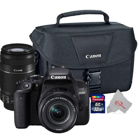 Canon EOS 800D Rebel T7i 24.2MP Digital SLR Camera + Canon 18-55mm + 55-250 IS II Complete Basic Lens  Kit