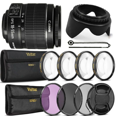 Canon EF-S 18-55 III with 12 PC Filter Bundle For Canon T5 T5i T6 T6i T6s 70D 80D and More DSLRs