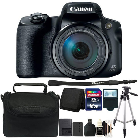 Canon PowerShot SX70 HS Digital Camera + 16GB Memory Card + Wallet + Card Reader + Slave Flash + Camera Case + Tall Tripod + 3pc Cleaning Kit