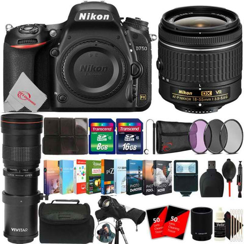 Nikon D750 24.3MP DSLR Camera + 18-55mm & 420-800mm Lens Accessory Kit No Wifi