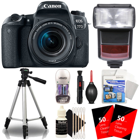 Canon EOS 77D 24.2MP Digtal SLR Camera with 18-55mm IS STM Lens , TTL Speedlite Flash and Accessories