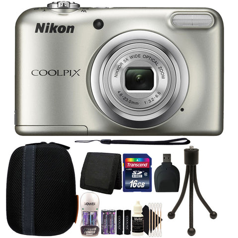 Nikon COOLPIX A10 16.1 MP Compact Digital Camera Silver + 16GB Accessory Kit