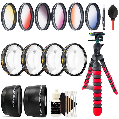 58mm Color Filters with Accessory Kit For Canon T5 , T5i , T6 ,T6i and T7i