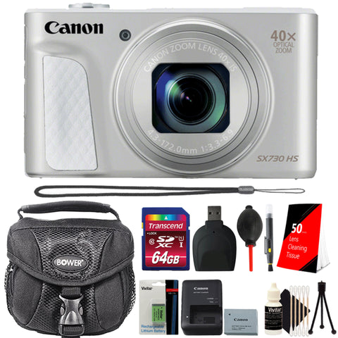 Canon PowerShot SX730 HS 20.3MP Digital Camera Silver with 64GB Memory Card, Extra Battery and More Essential Accessories