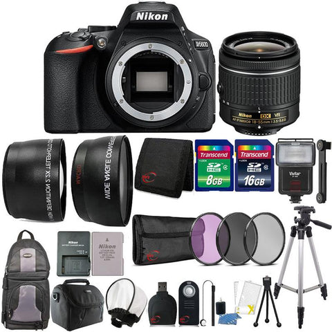 Nikon D5600 24.2MP DSLR Camera with 18-55mm Lens and 24GB Accessory Bundle
