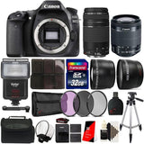 Canon EOS Rebel 80D 24.2MP Digital SLR Camera with 18-55mm and 75-300mm Lenses + Tall Tripod, Filters, External Flash and More