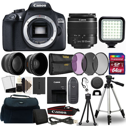 Canon EOS 1300D / Rebel T6 Digital SLR Camera with 18-55mm Lens and Accessory Bundle