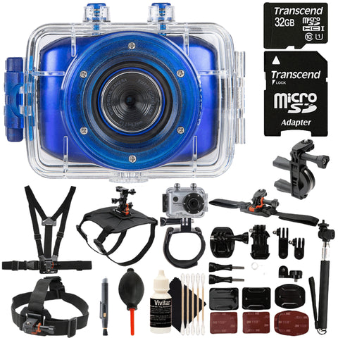 Vivitar DVR783HD 5.1MP Waterproof Action Camera Camcorder Blue with 32GB Accessory Kit