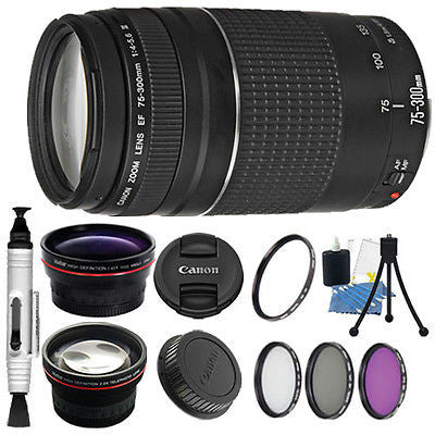 Canon EF 75-300mm III Telephoto Zoom Lens Kit for Canon EOS T5 T6 T6I 70D 80D