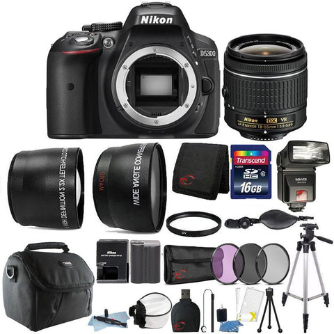 Nikon D5300 24.2MP DSLR Camera with 18-55mm Lens , TTL Flash and 16GB Accessory Bundle