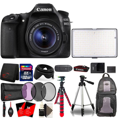 Canon EOS 80D 24.2MP DSLR Camera with 18-55mm Lens , 120 LED Video Light and Accessory Kit