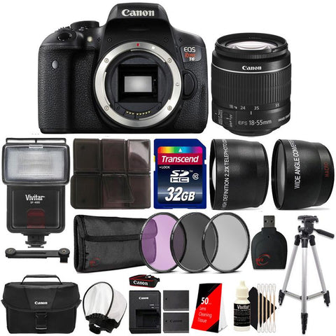 Canon EOS Rebel T6 18MP Built-In WIFI DSLR Camera with 18-55mm Lens and Canon 100ES Case and Bundle Kit