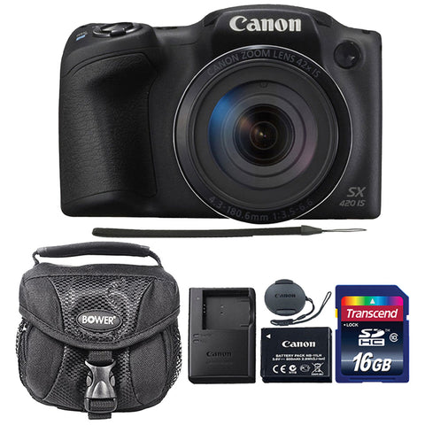 Canon PowerShot SX420 IS Digital Camera Black with Accessories