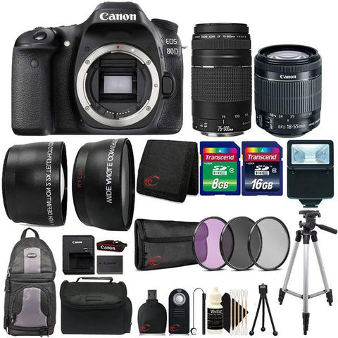 Canon EOS Rebel 80D 24.2MP DSLR Camera with 18-55mm Lens , 75-300mm Lens with Backpack and Gadget Bag + Top Accessory Bundle