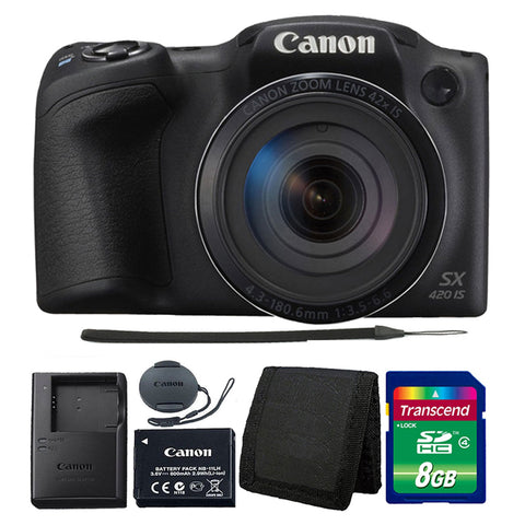 Canon PowerShot SX420 IS 20MP Digital Camera 42x Optical Zoom Black with Accessories