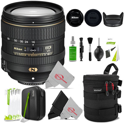 Nikon AF-S DX NIKKOR 16-80mm f/2.8-4E ED VR Lens for Nikon DSLR Cameras  + Cleaning Accessory Kit
