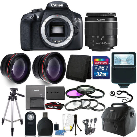 Canon EOS 1300D/T6 18MP DSLR Camera + 18-55mm Lens + 32GB Accessory Kit
