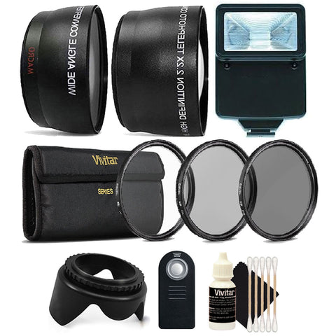 58mm Fisheye Wide Angle Lens, Telephoto Lens and Top Lens Accessory Kit for Canon Cameras