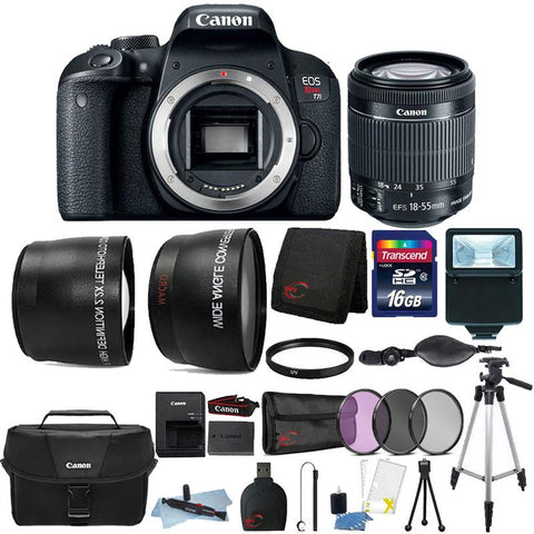 Canon EOS Rebel T7i 24.2MP Built-In WIFI DSLR Camera with 18-55mm Lens , Canon 100ES Case and 16GB Ultimate Accessory Kit
