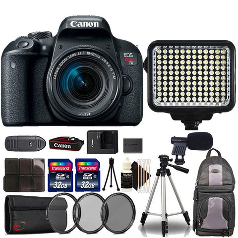 Canon EOS Rebel T7i DSLR Camera with 18-55mm Lens , 120 LED Light and Ultimate Accessory Kit