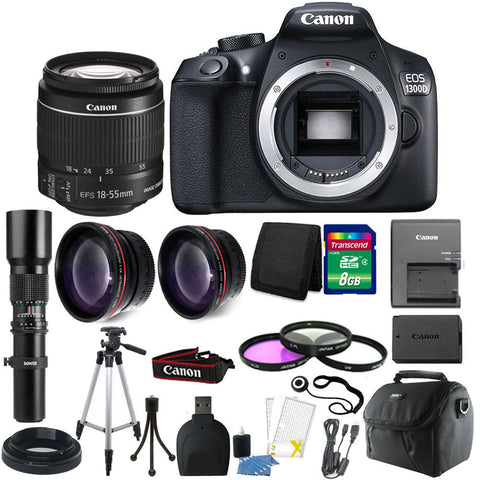 Canon EOS Rebel 1300D/T6 18MP DSLR Camera + 18-55mm Lens + Accessory Kit