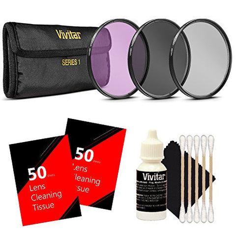 Vivitar UV CPL FLD Filter Set + Lens Cleaning Tissue + Cleaning Kit for Kit for Canon 18-135, Nikon 18-140, and Nikon 18-105 Lenses