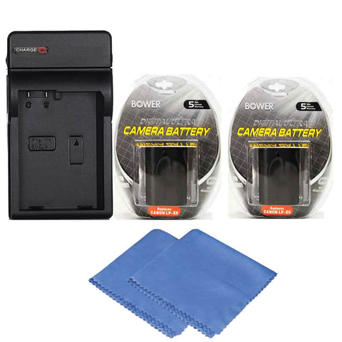 2 LP-E6 Battery with Charger for Canon EOS 80D, 70D and 60D